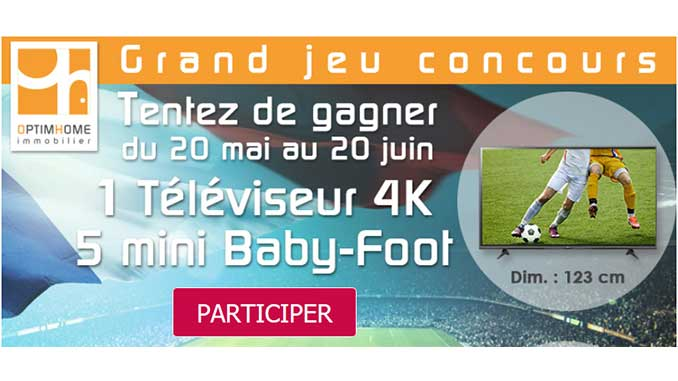 concours termin jeu concours optimhome tv baby foot gagner promogeek. Black Bedroom Furniture Sets. Home Design Ideas